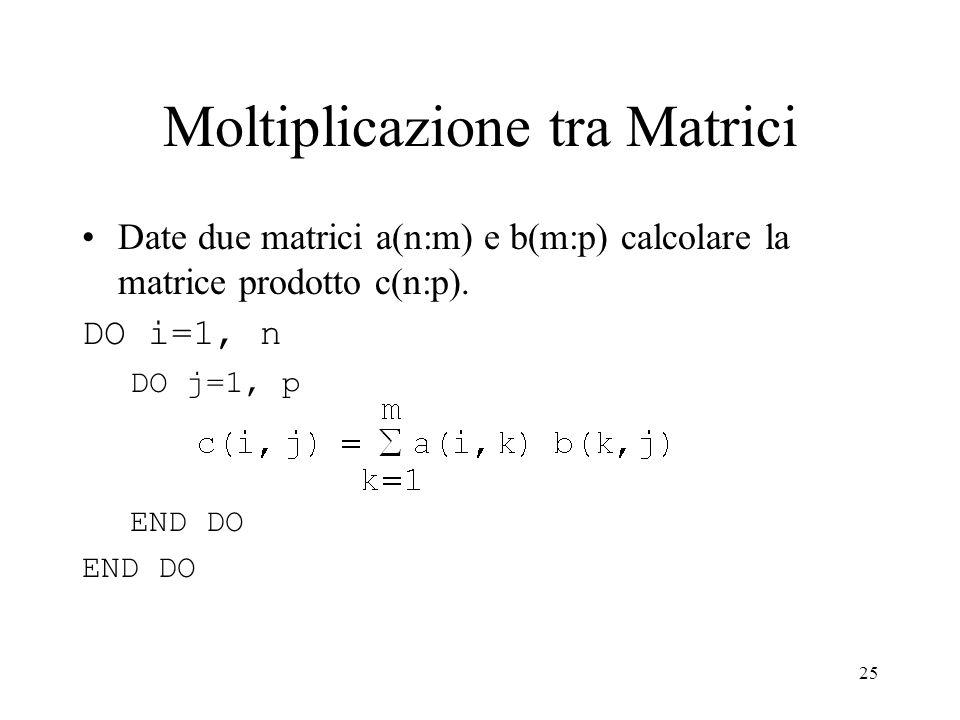 25 Moltiplicazione tra Matrici Date due matrici a(n:m) e b(m:p) calcolare la matrice prodotto c(n:p).
