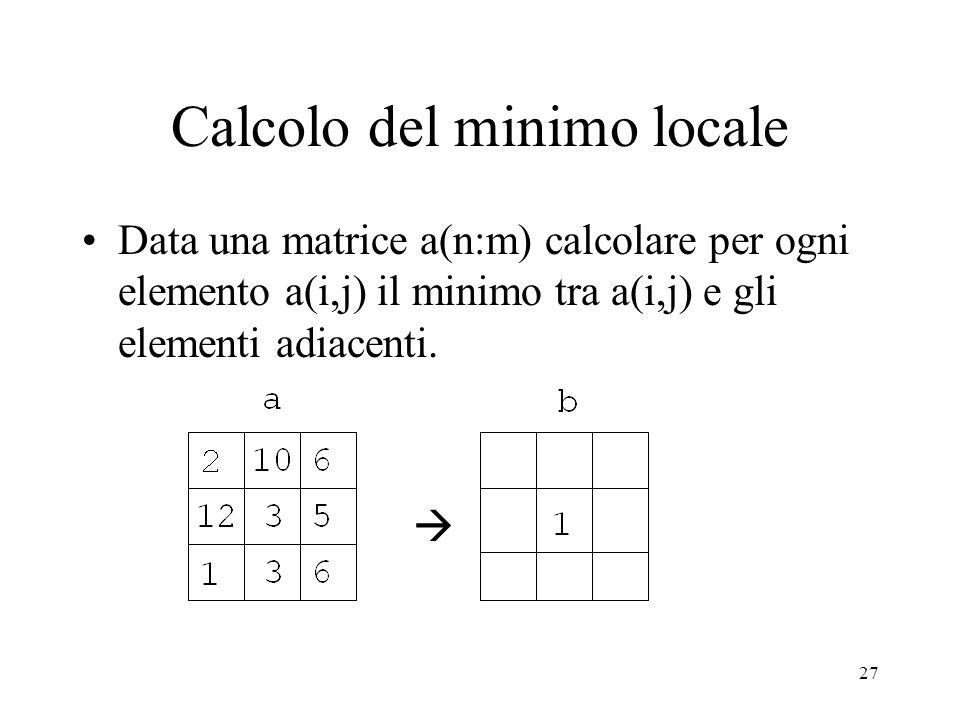 27 Calcolo del minimo locale Data una matrice a(n:m) calcolare per ogni elemento a(i,j) il minimo tra a(i,j) e gli elementi adiacenti.