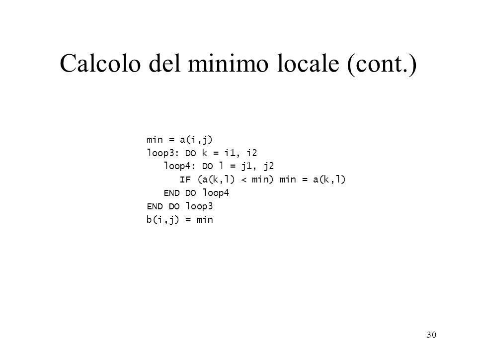 30 Calcolo del minimo locale (cont.) min = a(i,j) loop3: DO k = i1, i2 loop4: DO l = j1, j2 IF (a(k,l) < min) min = a(k,l) END DO loop4 END DO loop3 b(i,j) = min