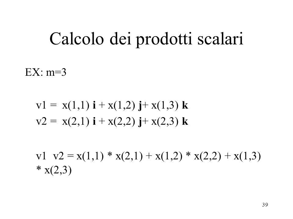 39 Calcolo dei prodotti scalari EX: m=3 v1 = x(1,1) i + x(1,2) j+ x(1,3) k v2 = x(2,1) i + x(2,2) j+ x(2,3) k v1 v2 = x(1,1) * x(2,1) + x(1,2) * x(2,2) + x(1,3) * x(2,3)