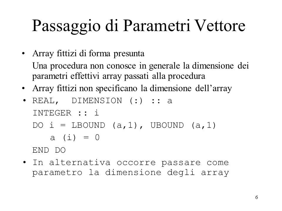 7 Passaggio di Parametri di Tipo Vettore .File: util-vet.for MODULE operazioni_su_vettori .