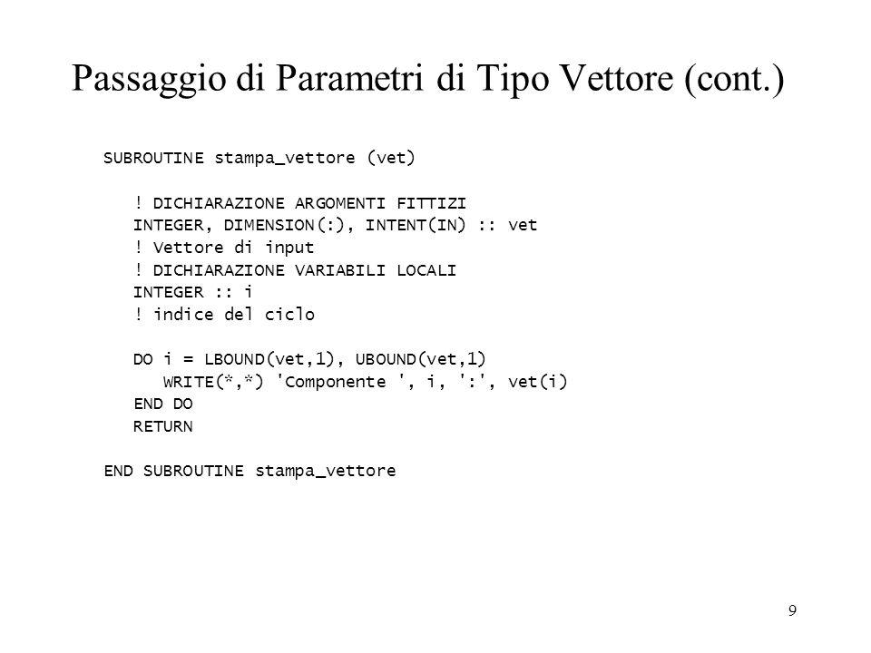 9 Passaggio di Parametri di Tipo Vettore (cont.) SUBROUTINE stampa_vettore (vet) .