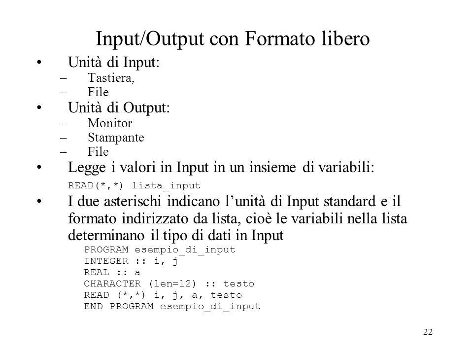 22 Input/Output con Formato libero Unità di Input: –Tastiera, –File Unità di Output: –Monitor –Stampante –File Legge i valori in Input in un insieme d