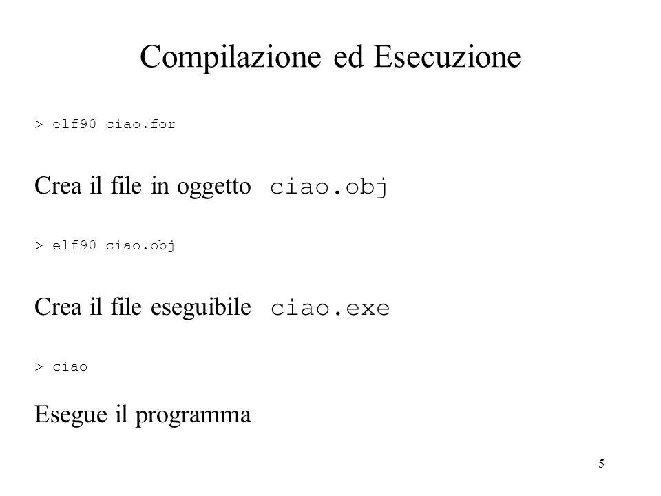 5 Compilazione ed Esecuzione > elf90 ciao.for Crea il file in oggetto ciao.obj > elf90 ciao.obj Crea il file eseguibile ciao.exe > ciao Esegue il prog