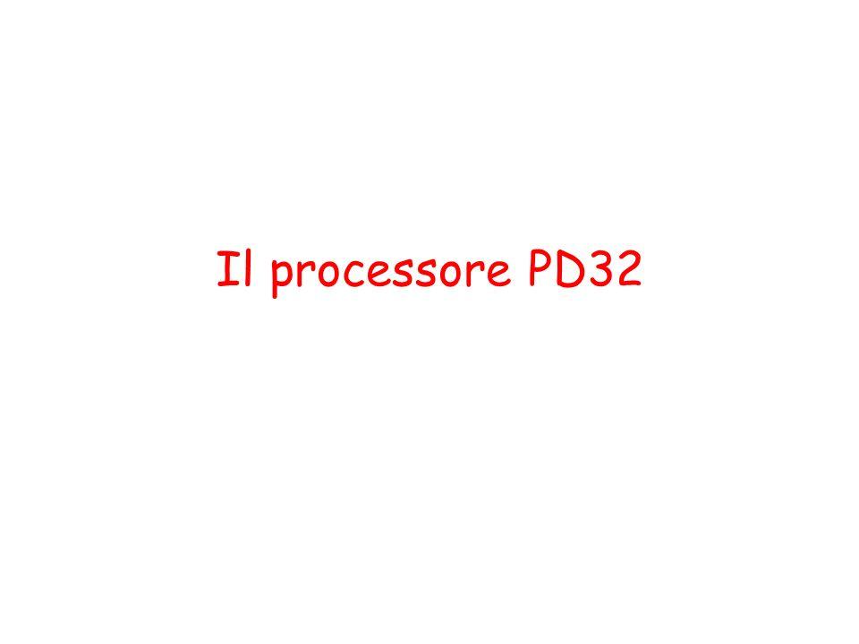 Interconnesione del PD32 PD32 Memory address bus Memory control bus Memory data bus Modulo di memoria Modulo di memoria 30 32 I/O address bus I/O control bus I/O data bus 8 Interfaccia I/O Interfaccia I/O 32 dispositivo di I/O dispositivo di I/O