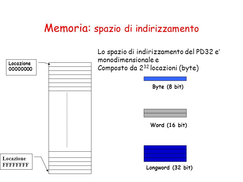 Lo spazio di indirizzamento del PD32 e monodimensionale e Composto da 2 32 locazioni (byte) Locazione 00000000 Locazione FFFFFFFF Byte (8 bit) Word (1