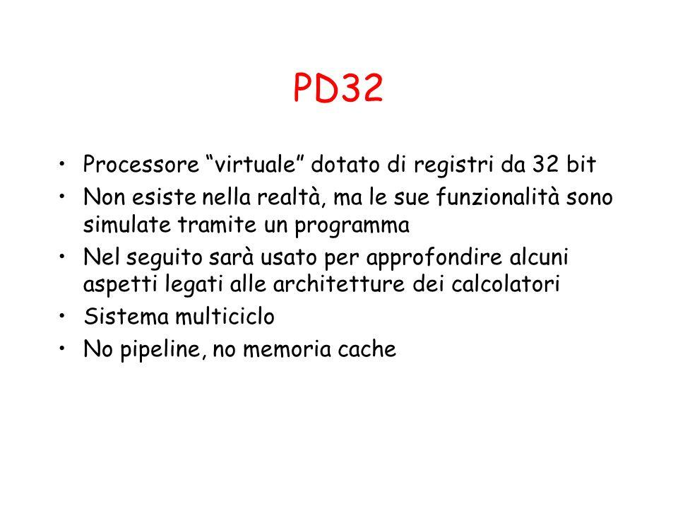 PD32 Processore virtuale dotato di registri da 32 bit Non esiste nella realtà, ma le sue funzionalità sono simulate tramite un programma Nel seguito s