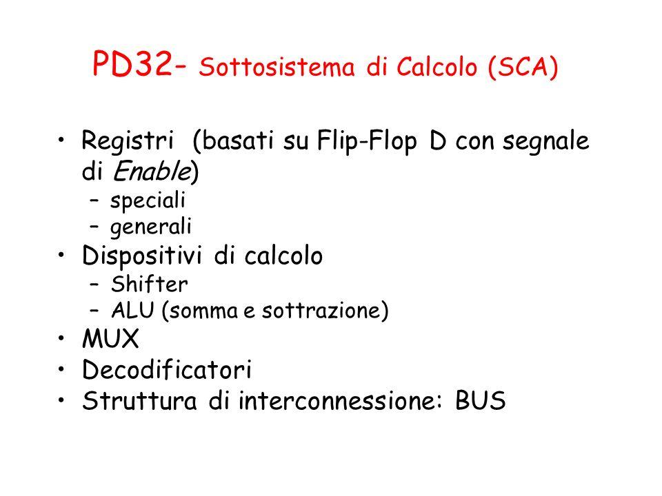 PD32- Sottosistema di Calcolo (SCA) Registri (basati su Flip-Flop D con segnale di Enable) –speciali –generali Dispositivi di calcolo –Shifter –ALU (s