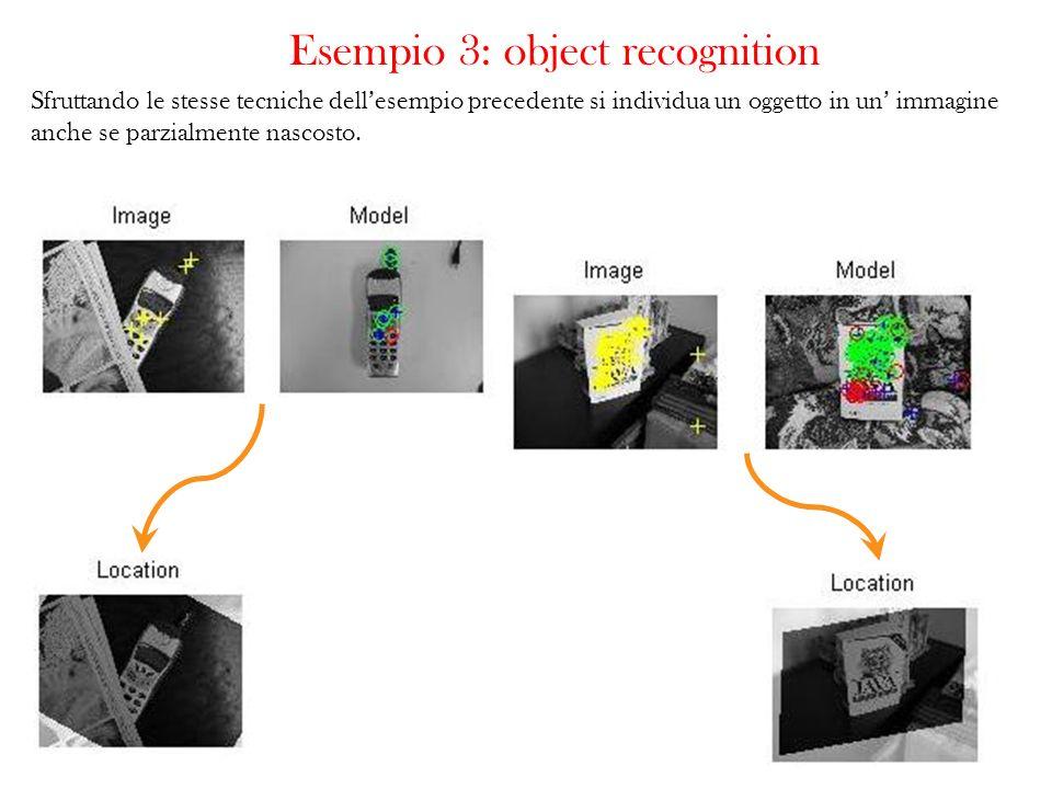 Esempio 3: object recognition Sfruttando le stesse tecniche dellesempio precedente si individua un oggetto in un immagine anche se parzialmente nascos