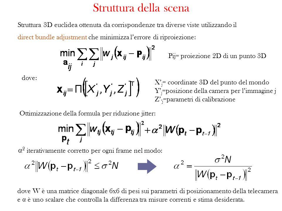 Struttura 3D euclidea ottenuta da corrispondenze tra diverse viste utilizzando il direct bundle adjustment che minimizza lerrore di riproiezione: Stru