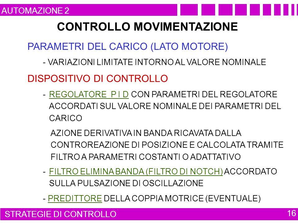 CONTROLLO MOVIMENTAZIONE PARAMETRI DEL CARICO (LATO MOTORE) AUTOMAZIONE 2 STRATEGIE DI CONTROLLO 16 - VARIAZIONI LIMITATE INTORNO AL VALORE NOMINALE DISPOSITIVO DI CONTROLLO - REGOLATORE P I D CON PARAMETRI DEL REGOLATORE ACCORDATI SUL VALORE NOMINALE DEI PARAMETRI DEL CARICO AZIONE DERIVATIVA IN BANDA RICAVATA DALLA CONTROREAZIONE DI POSIZIONE E CALCOLATA TRAMITE FILTRO A PARAMETRI COSTANTI O ADATTATIVO - PREDITTORE DELLA COPPIA MOTRICE (EVENTUALE) - FILTRO ELIMINA BANDA (FILTRO DI NOTCH) ACCORDATO SULLA PULSAZIONE DI OSCILLAZIONE