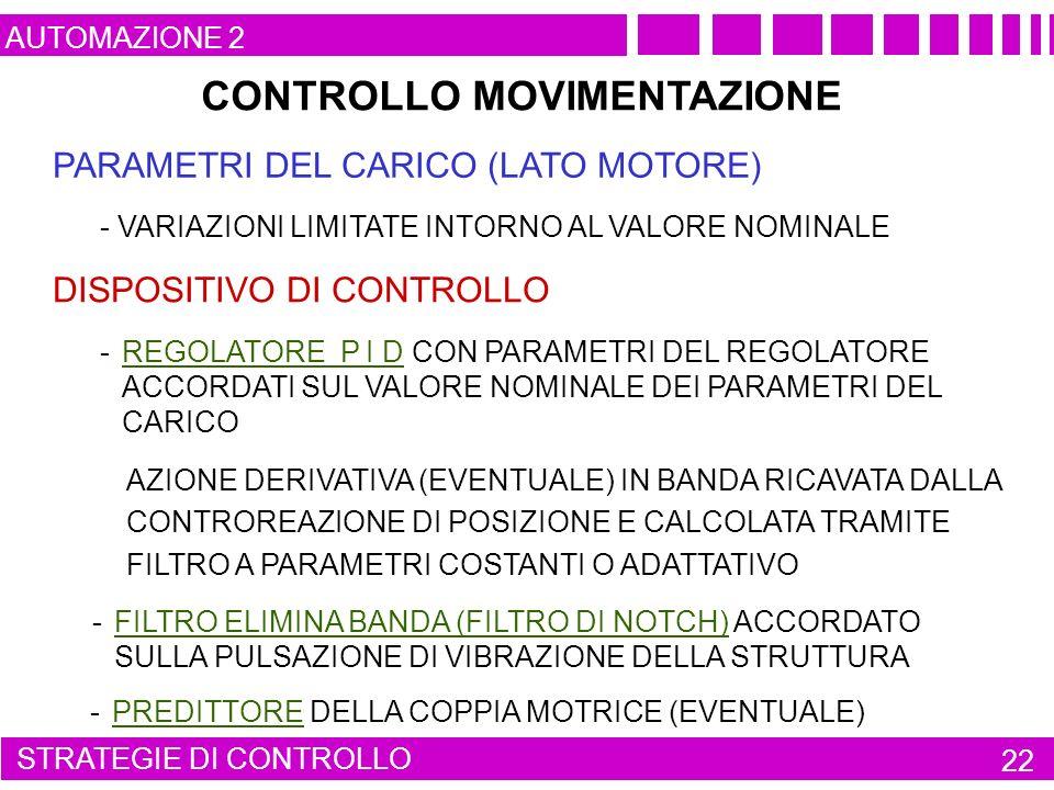 CONTROLLO MOVIMENTAZIONE PARAMETRI DEL CARICO (LATO MOTORE) AUTOMAZIONE 2 STRATEGIE DI CONTROLLO 22 - PREDITTORE DELLA COPPIA MOTRICE (EVENTUALE) - FILTRO ELIMINA BANDA (FILTRO DI NOTCH) ACCORDATO SULLA PULSAZIONE DI VIBRAZIONE DELLA STRUTTURA AZIONE DERIVATIVA (EVENTUALE) IN BANDA RICAVATA DALLA CONTROREAZIONE DI POSIZIONE E CALCOLATA TRAMITE FILTRO A PARAMETRI COSTANTI O ADATTATIVO - REGOLATORE P I D CON PARAMETRI DEL REGOLATORE ACCORDATI SUL VALORE NOMINALE DEI PARAMETRI DEL CARICO DISPOSITIVO DI CONTROLLO - VARIAZIONI LIMITATE INTORNO AL VALORE NOMINALE