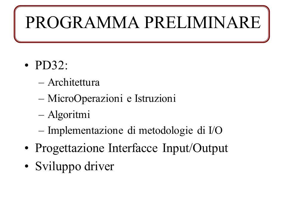 PD32: –Architettura –MicroOperazioni e Istruzioni –Algoritmi –Implementazione di metodologie di I/O Progettazione Interfacce Input/Output Sviluppo dri
