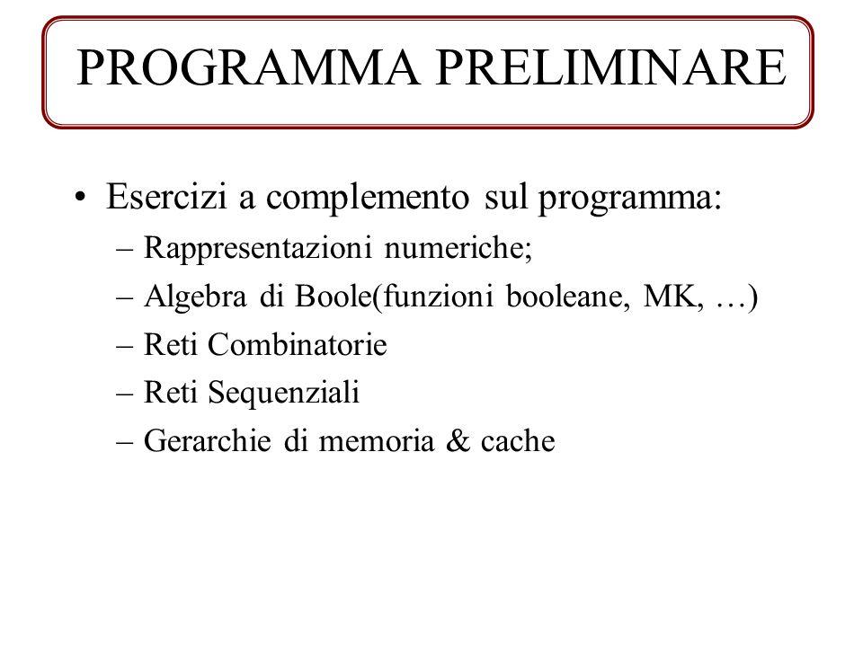 Esercizi a complemento sul programma: –Rappresentazioni numeriche; –Algebra di Boole(funzioni booleane, MK, …) –Reti Combinatorie –Reti Sequenziali –G