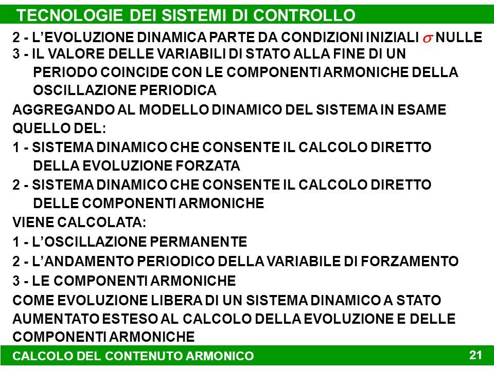 TECNOLOGIE DEI SISTEMI DI CONTROLLO 21 2 - LEVOLUZIONE DINAMICA PARTE DA CONDIZIONI INIZIALI NULLE 3 - IL VALORE DELLE VARIABILI DI STATO ALLA FINE DI UN PERIODO COINCIDE CON LE COMPONENTI ARMONICHE DELLA OSCILLAZIONE PERIODICA AGGREGANDO AL MODELLO DINAMICO DEL SISTEMA IN ESAME QUELLO DEL: 1 - SISTEMA DINAMICO CHE CONSENTE IL CALCOLO DIRETTO DELLA EVOLUZIONE FORZATA 2 - SISTEMA DINAMICO CHE CONSENTE IL CALCOLO DIRETTO DELLE COMPONENTI ARMONICHE VIENE CALCOLATA: 1 - LOSCILLAZIONE PERMANENTE 2 - LANDAMENTO PERIODICO DELLA VARIABILE DI FORZAMENTO 3 - LE COMPONENTI ARMONICHE COME EVOLUZIONE LIBERA DI UN SISTEMA DINAMICO A STATO AUMENTATO ESTESO AL CALCOLO DELLA EVOLUZIONE E DELLE COMPONENTI ARMONICHE CALCOLO DEL CONTENUTO ARMONICO