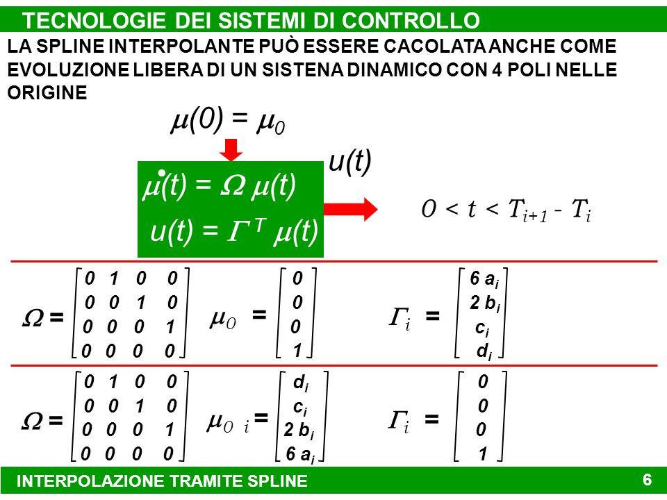 INTERPOLAZIONE TRAMITE SPLINE TECNOLOGIE DEI SISTEMI DI CONTROLLO 6 (0) = 0 (t) = (t) u(t) = T (t) u(t) 0 = 0 0 1 0 = 010 001 000 000 0 0 0 1 i = 6 a i 2 b i didi cici 0 < t < T i+1 - T i 0 i = didi cici 6 a i 2 b i = 010 001 000 000 0 0 0 1 i = 0 0 1 0 LA SPLINE INTERPOLANTE PUÒ ESSERE CACOLATA ANCHE COME EVOLUZIONE LIBERA DI UN SISTENA DINAMICO CON 4 POLI NELLE ORIGINE
