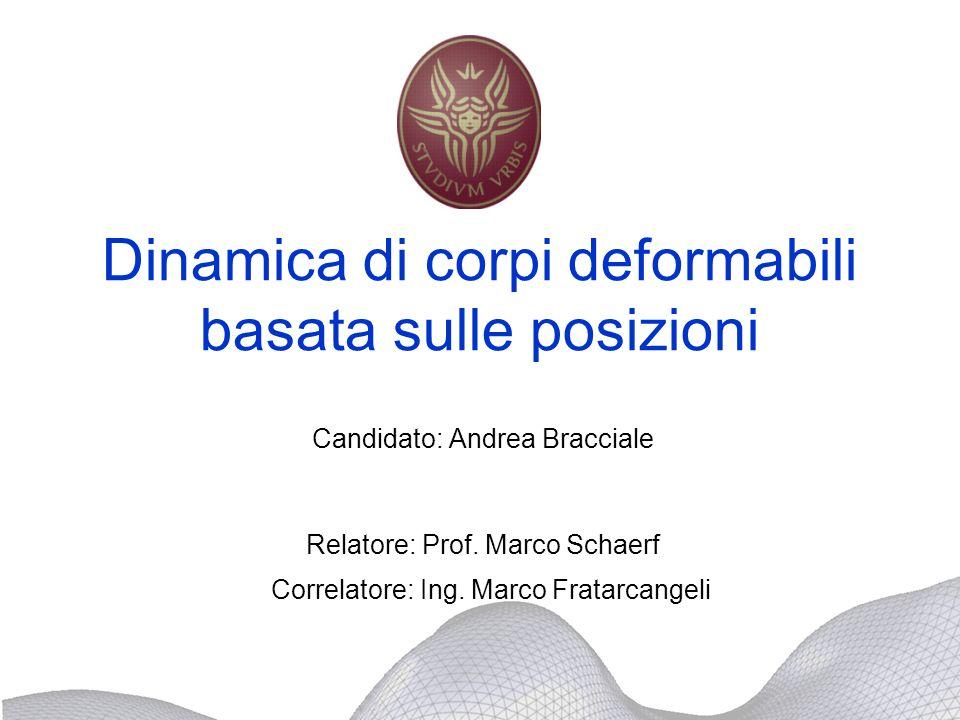 Dinamica di corpi deformabili basata sulle posizioni Candidato: Andrea Bracciale Relatore: Prof. Marco Schaerf Correlatore: Ing. Marco Fratarcangeli