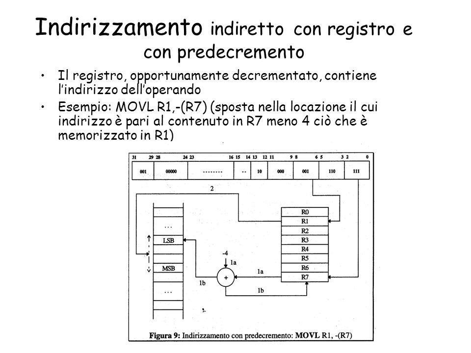 Indirizzamento indiretto con registro e con predecremento Il registro, opportunamente decrementato, contiene lindirizzo delloperando Esempio: MOVL R1,