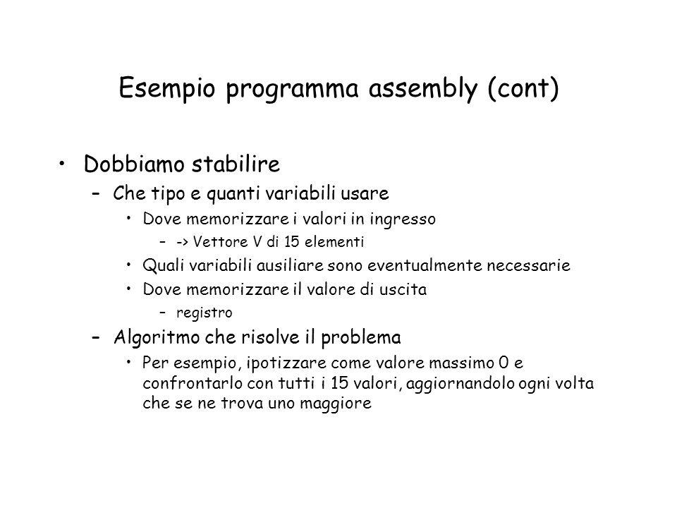Esempio programma assembly (cont) Dobbiamo stabilire –Che tipo e quanti variabili usare Dove memorizzare i valori in ingresso –-> Vettore V di 15 elem