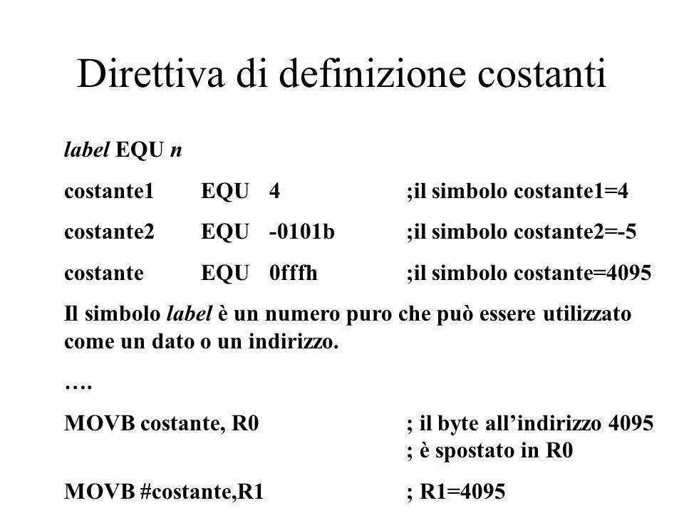 Direttiva di definizione costanti label EQU n costante1 EQU 4;il simbolo costante1=4 costante2 EQU -0101b ;il simbolo costante2=-5 costante EQU 0fffh;