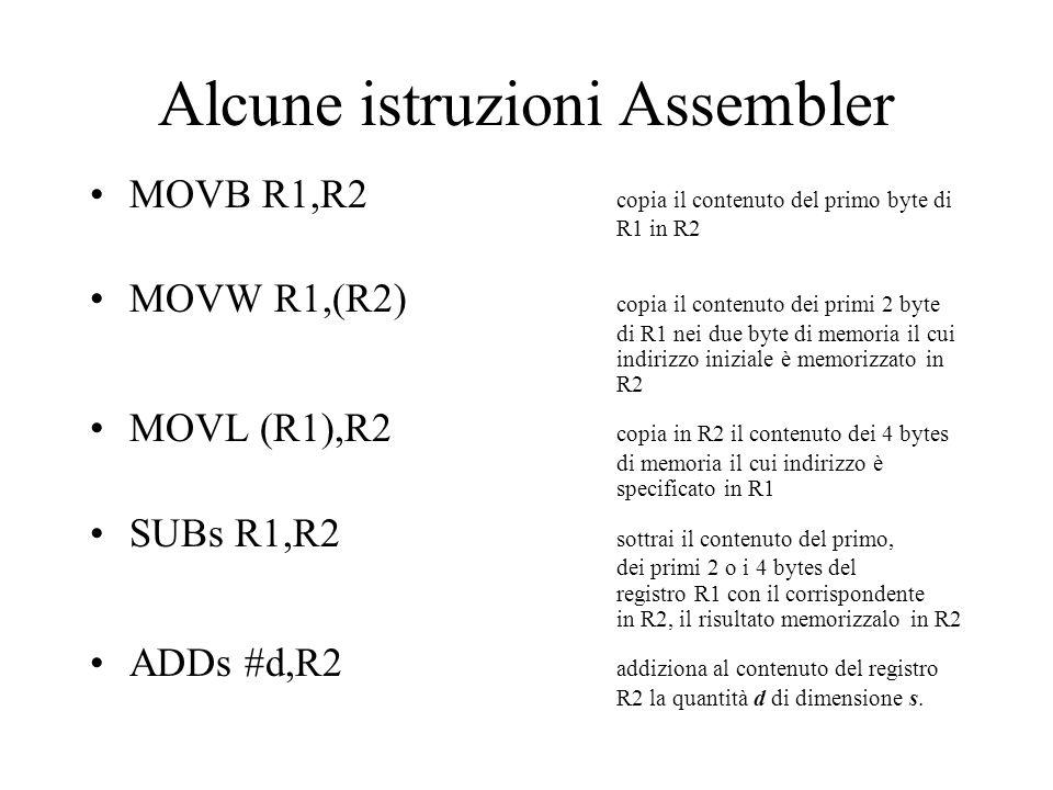 Alcune istruzioni Assembler MOVB R1,R2 copia il contenuto del primo byte di R1 in R2 MOVW R1,(R2) copia il contenuto dei primi 2 byte di R1 nei due by