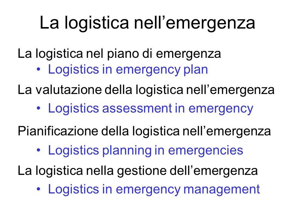 La logistica nel piano di emergenza Logistics in emergency plan La valutazione della logistica nellemergenza Logistics assessment in emergency Pianifi
