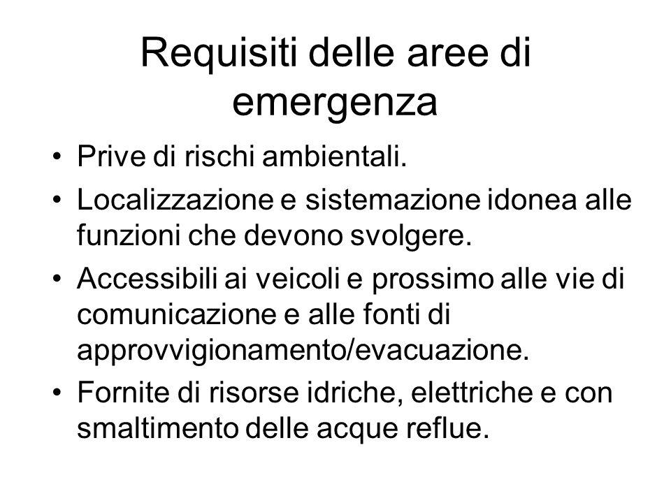 Requisiti delle aree di emergenza Prive di rischi ambientali. Localizzazione e sistemazione idonea alle funzioni che devono svolgere. Accessibili ai v