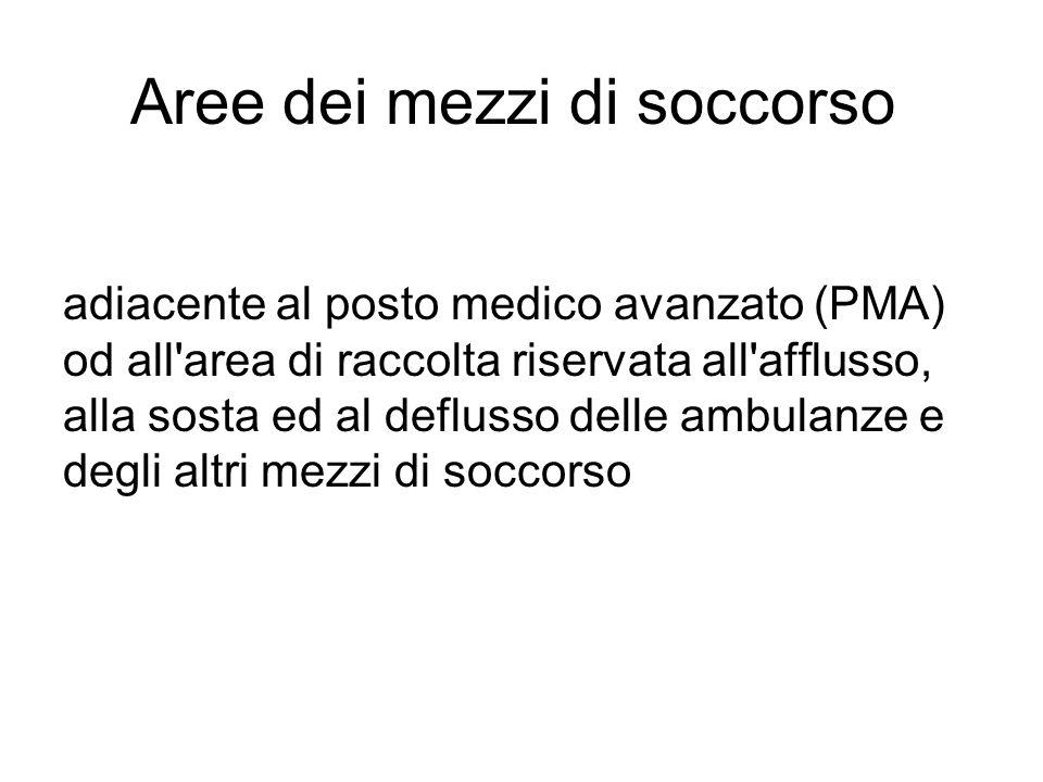 Aree dei mezzi di soccorso adiacente al posto medico avanzato (PMA) od all'area di raccolta riservata all'afflusso, alla sosta ed al deflusso delle am