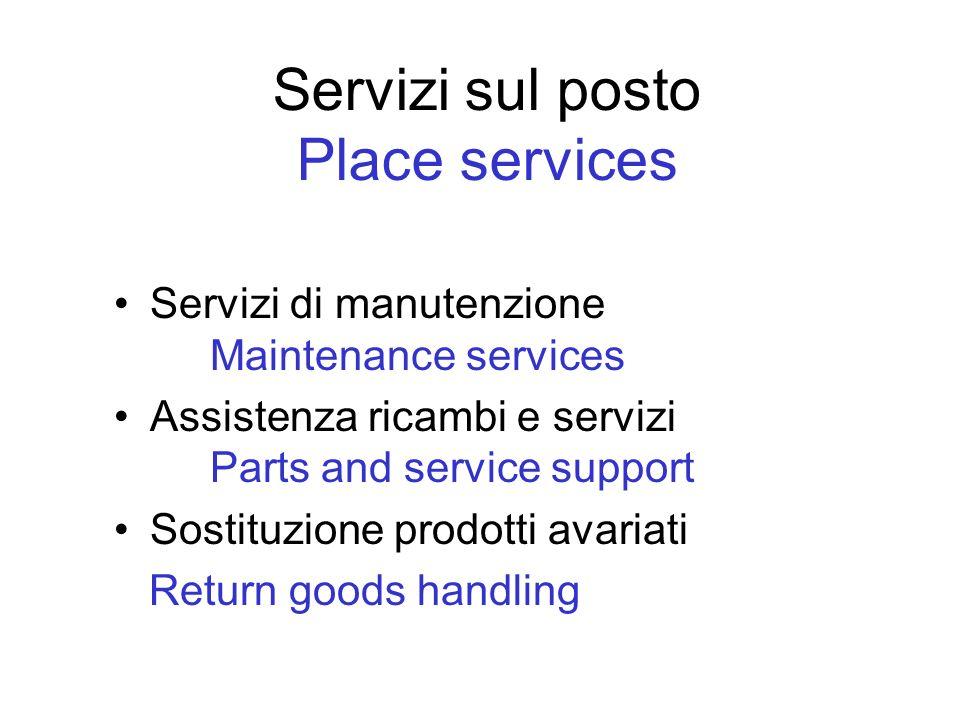 Servizi sul posto Place services Servizi di manutenzione Maintenance services Assistenza ricambi e servizi Parts and service support Sostituzione prod