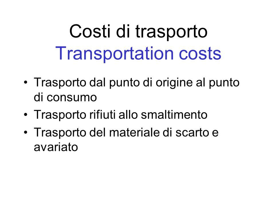 Costi di trasporto Transportation costs Trasporto dal punto di origine al punto di consumo Trasporto rifiuti allo smaltimento Trasporto del materiale