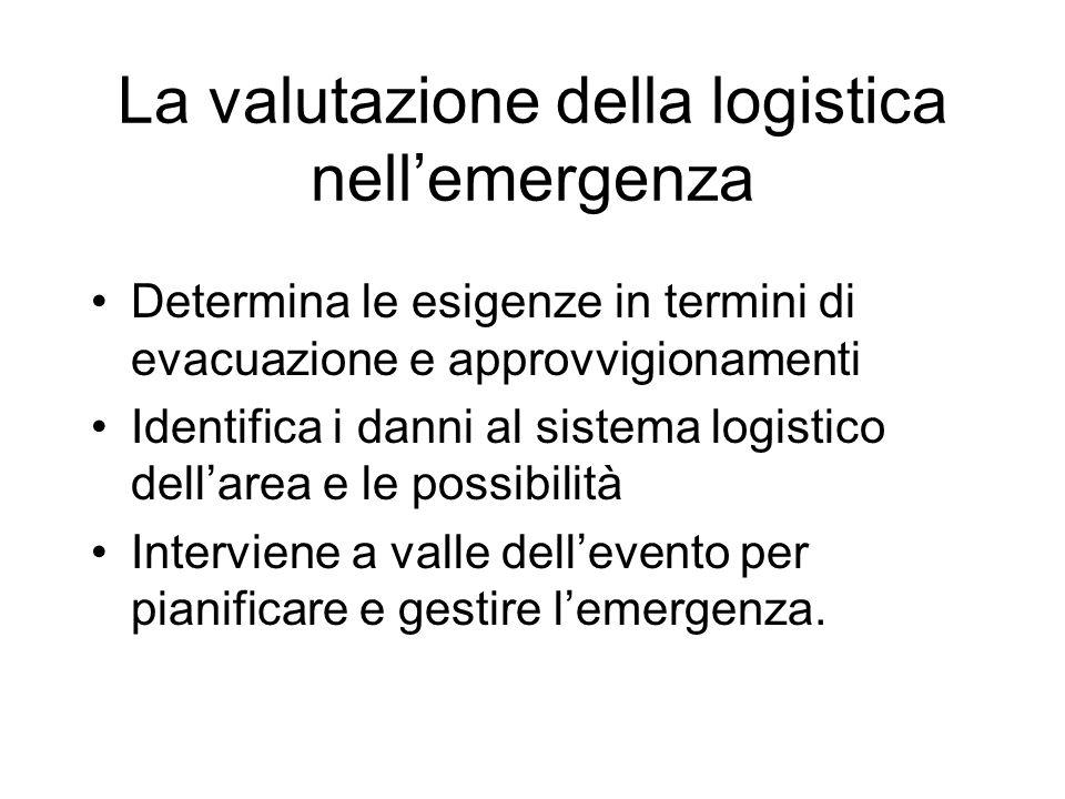 La valutazione della logistica nellemergenza Determina le esigenze in termini di evacuazione e approvvigionamenti Identifica i danni al sistema logist