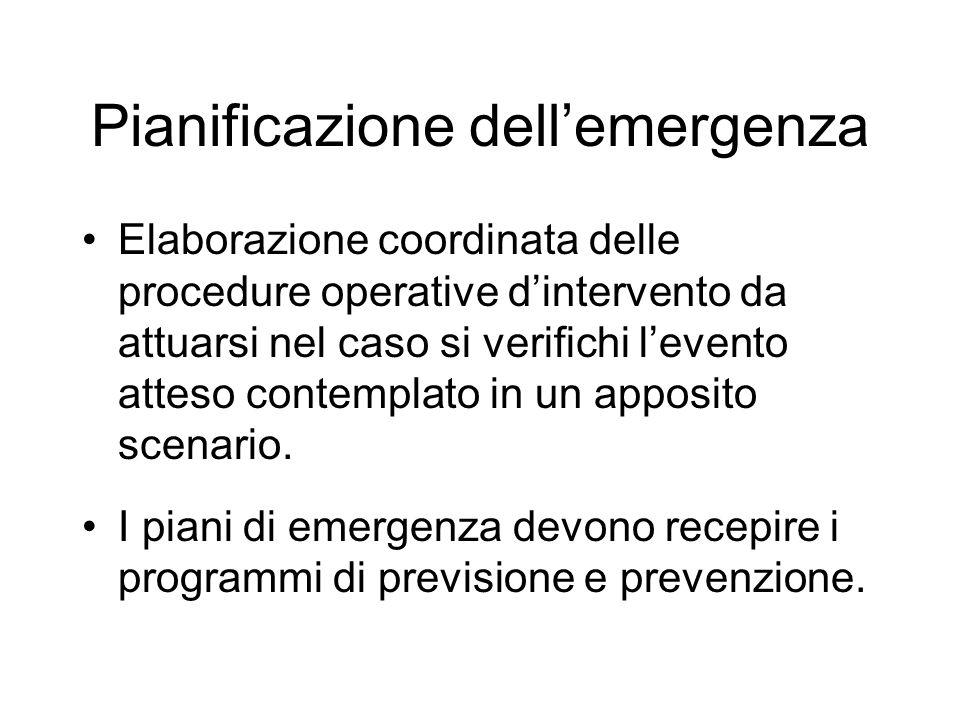 Pianificazione dellemergenza Elaborazione coordinata delle procedure operative dintervento da attuarsi nel caso si verifichi levento atteso contemplat