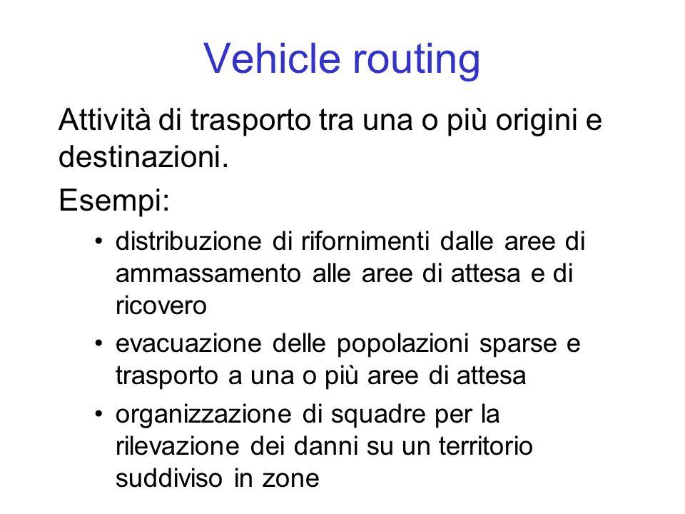 Vehicle routing Attività di trasporto tra una o più origini e destinazioni. Esempi: distribuzione di rifornimenti dalle aree di ammassamento alle aree