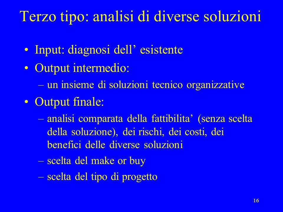 16 Terzo tipo: analisi di diverse soluzioni Input: diagnosi dell esistente Output intermedio: –un insieme di soluzioni tecnico organizzative Output fi