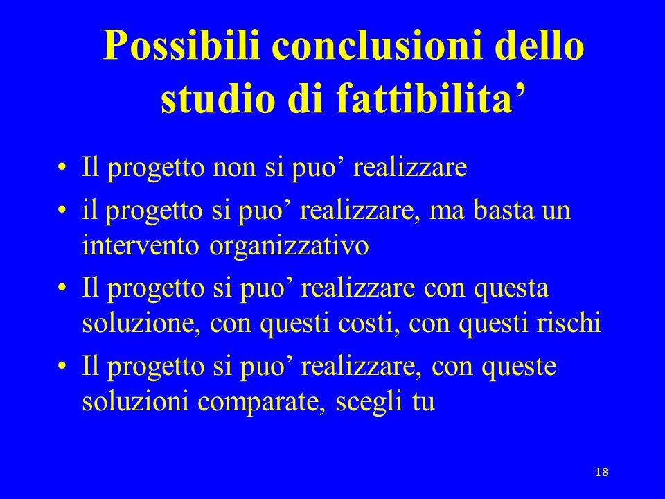 18 Possibili conclusioni dello studio di fattibilita Il progetto non si puo realizzare il progetto si puo realizzare, ma basta un intervento organizza