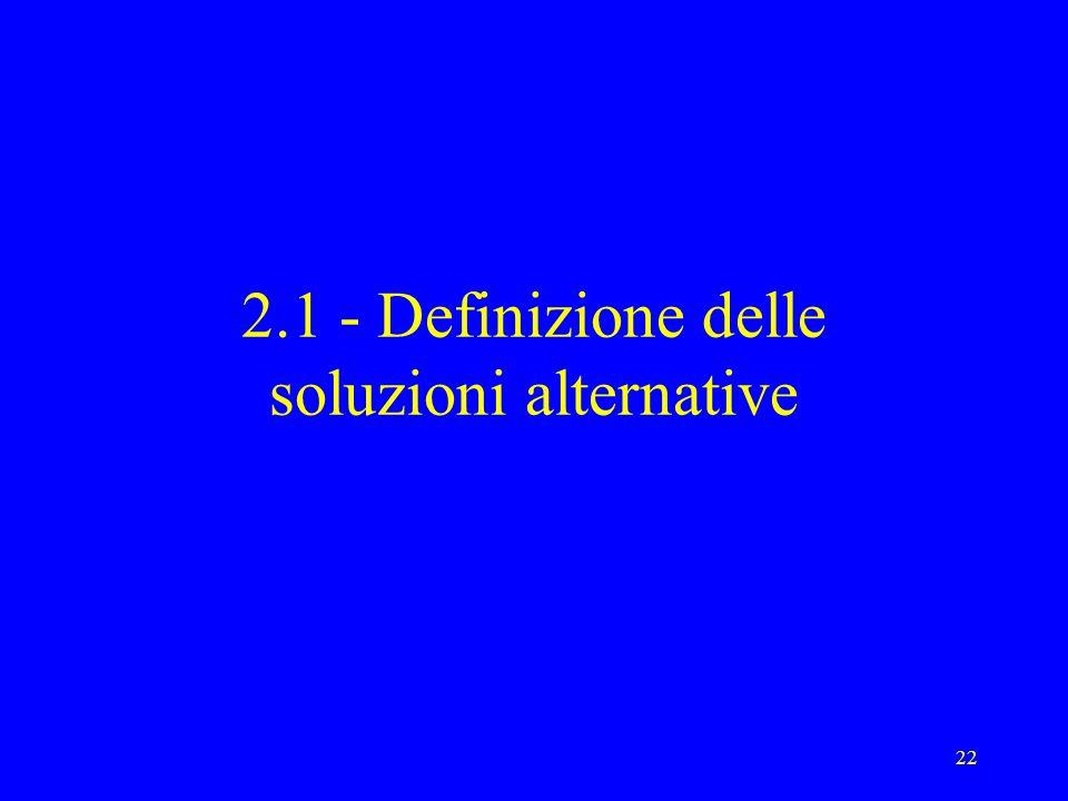 22 2.1 - Definizione delle soluzioni alternative