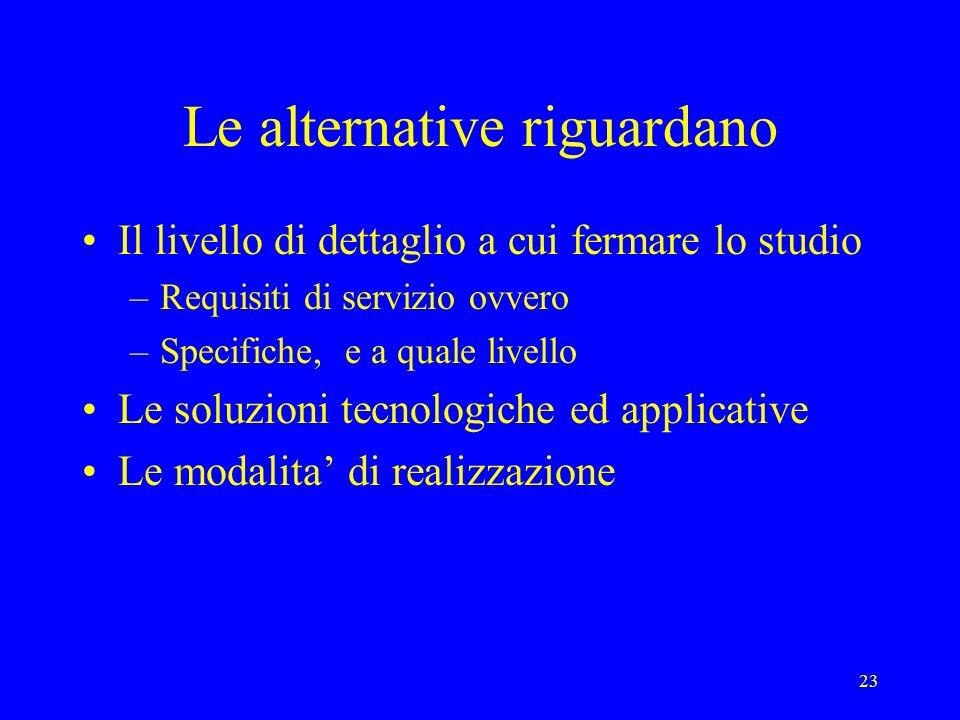 23 Le alternative riguardano Il livello di dettaglio a cui fermare lo studio –Requisiti di servizio ovvero –Specifiche, e a quale livello Le soluzioni tecnologiche ed applicative Le modalita di realizzazione