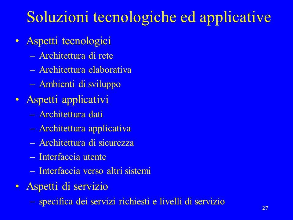 27 Soluzioni tecnologiche ed applicative Aspetti tecnologici –Architettura di rete –Architettura elaborativa –Ambienti di sviluppo Aspetti applicativi