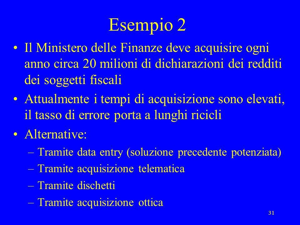 31 Esempio 2 Il Ministero delle Finanze deve acquisire ogni anno circa 20 milioni di dichiarazioni dei redditi dei soggetti fiscali Attualmente i temp