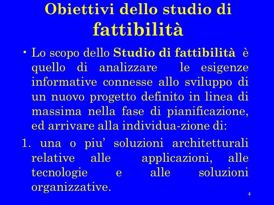 4 Obiettivi dello studio di fattibilità Lo scopo dello Studio di fattibilità è quello di analizzare le esigenze informative connesse allo sviluppo di
