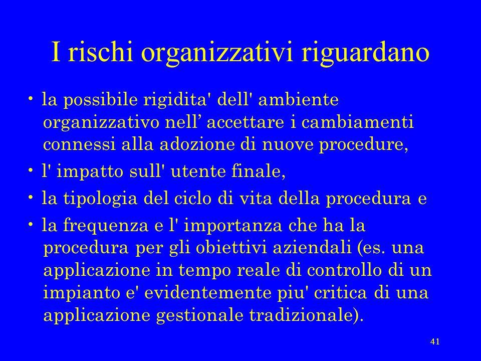 41 I rischi organizzativi riguardano la possibile rigidita' dell' ambiente organizzativo nell accettare i cambiamenti connessi alla adozione di nuove