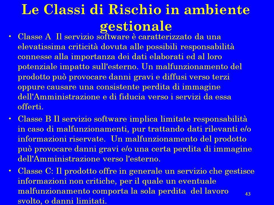 43 Le Classi di Rischio in ambiente gestionale Classe A Il servizio software è caratterizzato da una elevatissima criticità dovuta alle possibili responsabilità connesse alla importanza dei dati elaborati ed al loro potenziale impatto sull esterno.
