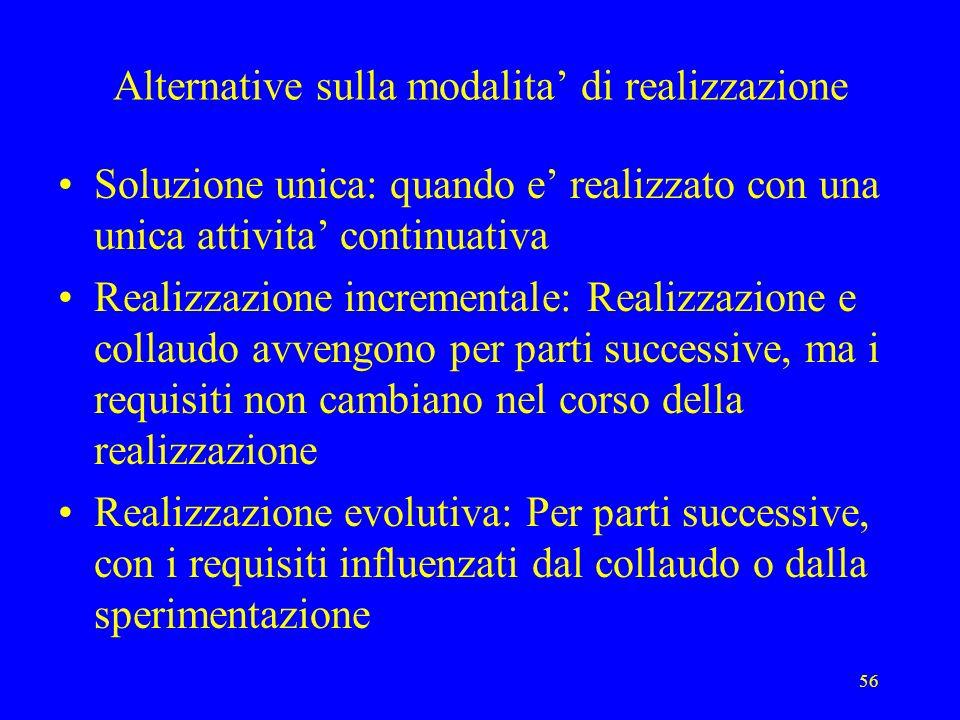 56 Alternative sulla modalita di realizzazione Soluzione unica: quando e realizzato con una unica attivita continuativa Realizzazione incrementale: Re