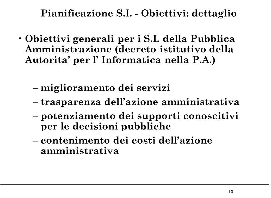 13 Pianificazione S.I. - Obiettivi: dettaglio Obiettivi generali per i S.I.