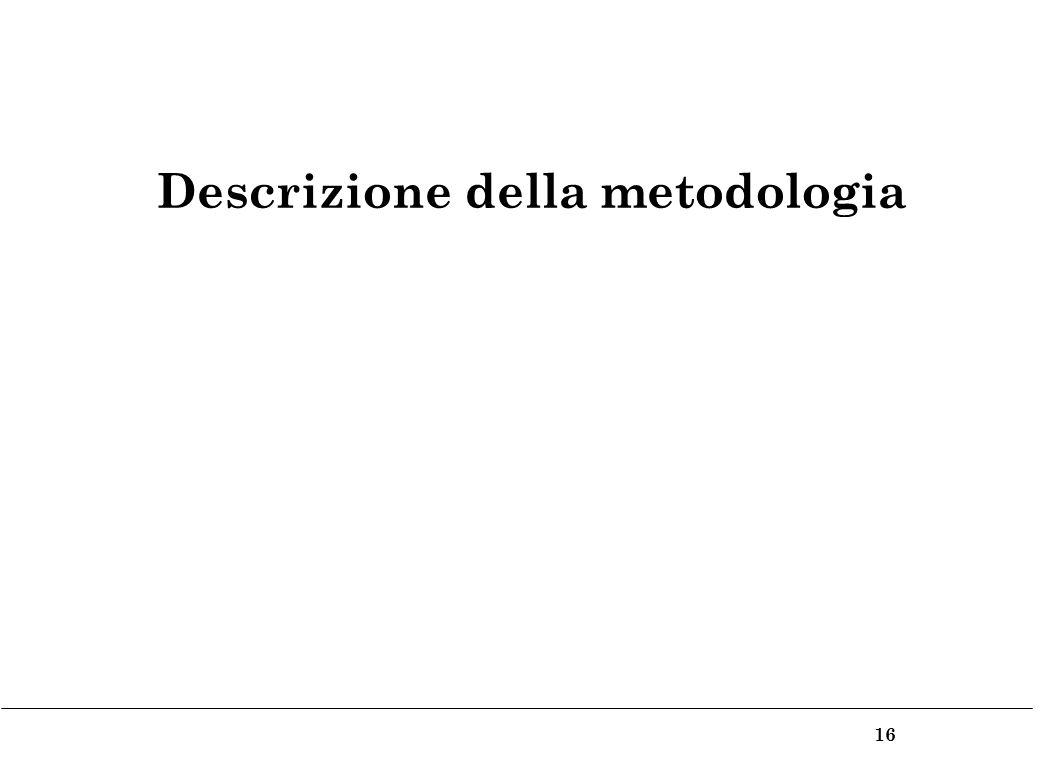 16 Descrizione della metodologia