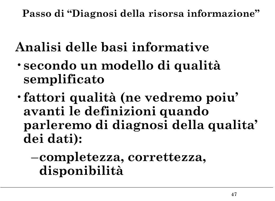 47 Passo di Diagnosi della risorsa informazione Analisi delle basi informative secondo un modello di qualità semplificato fattori qualità (ne vedremo poiu avanti le definizioni quando parleremo di diagnosi della qualita dei dati): – completezza, correttezza, disponibilità