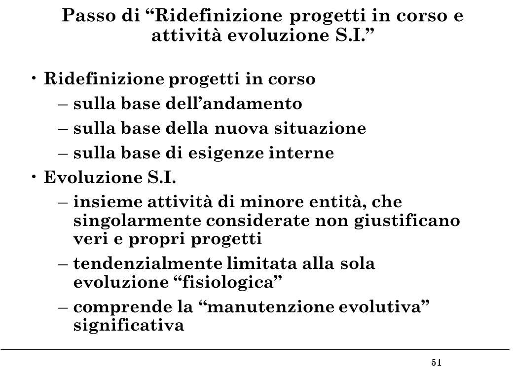 51 Passo di Ridefinizione progetti in corso e attività evoluzione S.I.