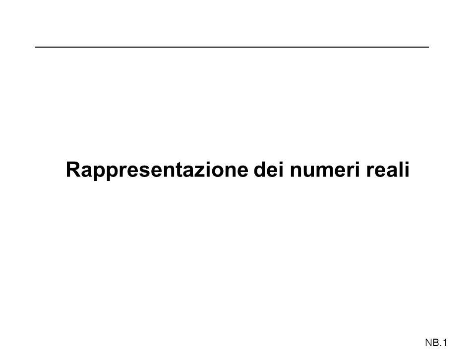 NB.2 Rappresentazione di numeri reali Con un numero finito di cifre è solo possibile rappresentare un numero razionale che approssima con un certo errore il numero reale dato Vengono usate due notazioni: A) Notazione in virgola fissa Dedica parte delle cifre alla parte intera e le altre alla parte frazionaria + XXX.YY B) Notazione in virgola mobile Dedica alcune cifre a rappresentare un esponente della base che indica lordine di grandezza del numero rappresentato