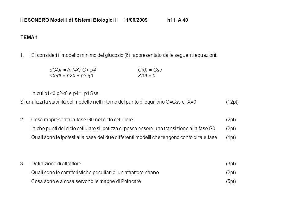 II ESONERO Modelli di Sistemi Biologici II 11/06/2009h11 A.40 TEMA 1 1.Si consideri il modello minimo del glucosio (6) rappresentato dalle seguenti equazioni: dG/dt = (p1-X) G+ p4G(0) = Gss dX/dt = p2X + p3 i(t)X(0) = 0 In cui p1<0 p2<0 e p4= -p1Gss Si analizzi la stabilità del modello nellintorno del punto di equilibrio G=Gss e X=0(12pt) 2.Cosa rappresenta la fase G0 nel ciclo cellulare.(2pt) In che punti del ciclo cellulare si ipotizza ci possa essere una transizione alla fase G0.(2pt) Quali sono le ipotesi alla base dei due differenti modelli che tengono conto di tale fase.(4pt) 3.Definizione di attrattore(3pt) Quali sono le caratteristiche peculiari di un attrattore strano(2pt) Cosa sono e a cosa servono le mappe di Poincaré(5pt)