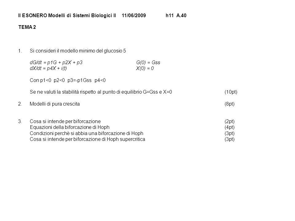 II ESONERO Modelli di Sistemi Biologici II 11/06/2009h11 A.40 TEMA 2 1.Si consideri il modello minimo del glucosio 5 dG/dt = p1G + p2X + p3G(0) = Gss dX/dt = p4X + i(t) X(0) = 0 Con p1<0 p2<0 p3=-p1Gss p4<0 Se ne valuti la stabilità rispetto al punto di equilibrio G=Gss e X=0(10pt) 2.Modelli di pura crescita(8pt) 3.Cosa si intende per biforcazione(2pt) Equazioni della biforcazione di Hoph(4pt) Condizioni perchè si abbia una biforcazione di Hoph(3pt) Cosa si intende per biforcazione di Hoph supercritica(3pt)